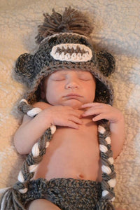 Tweed Sock Monkey Crochet Hat & Diaper Cover Set