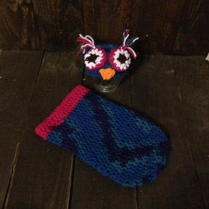 Blue and fuchsia owl cocoon set
