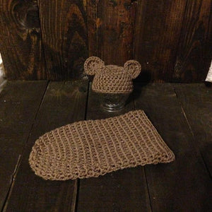 Brown Bear Crochet Hat & Cocoon Set - Maddies Mad Hatters