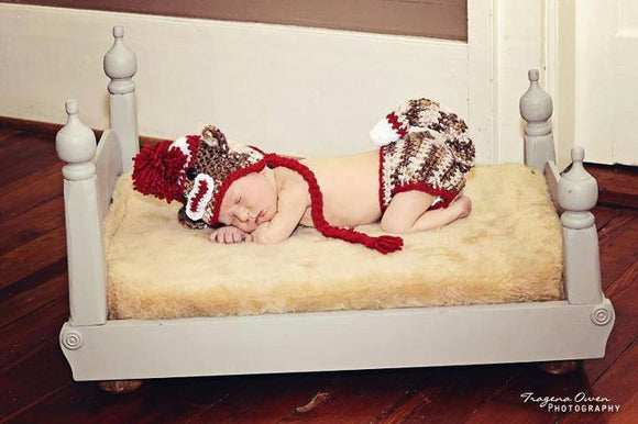 Regular Sock Monkey Crochet Hat and Diaper Cover Set