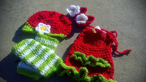 Strawberry Romper hat legwarmer and booties