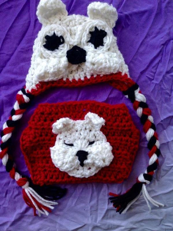 Bulldog Crochet Hat and Diaper Set - Maddies Mad Hatters