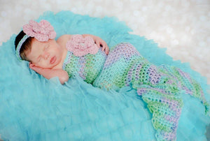 Mermaid Crochet Cocoon with Flower Headband - Maddies Mad Hatters