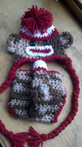 Sock Monkey Crochet Diaper Cover
