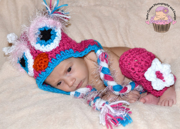 Owl Crochet Hat, Legwarmers and Diaper Cover Set