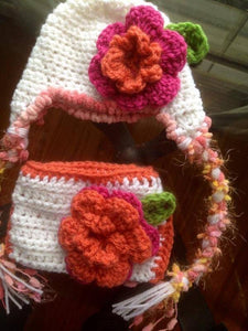 Flower Garden Pom Crochet Hat & Diaper Cover Set