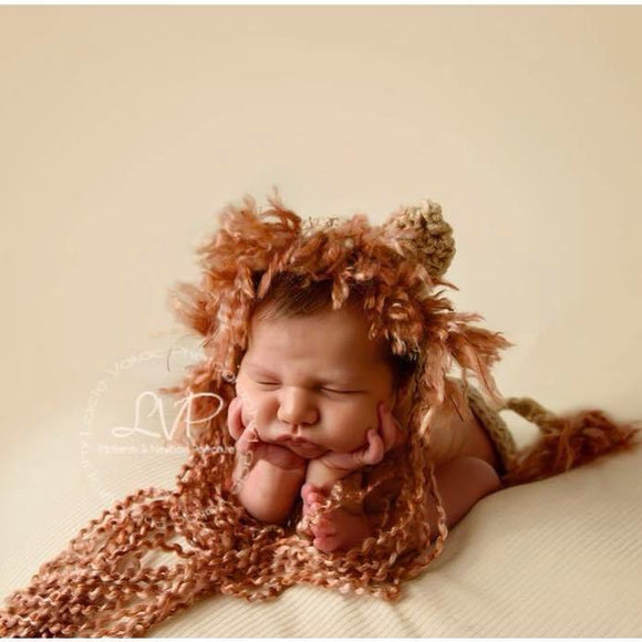 Lion Crochet Hat and Tushy Topper Set - Maddies Mad Hatters