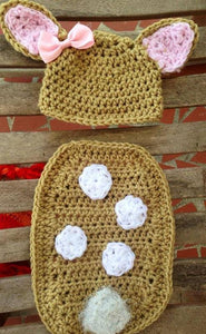 Fawn Diaper cover Hat combo