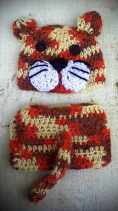 Tiger Cat Crochet Hat and Diaper Cover Set