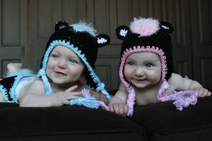 Matching Skunk Crochet Hat Set (Set of 2)