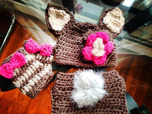 Brown & Cream Bunny Crochet Hat and Legwarmers Set