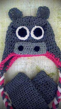 Hippo Crochet Hat, Legwarmers and Diaper Cover Set - Maddies Mad Hatters
