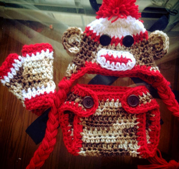 Sock Monkey Crochet Hat, Legwarmers and Diaper Cover Set