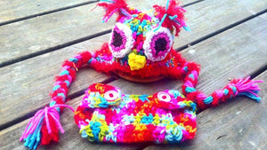 Owl Crochet Hat and Diaper Cover Set