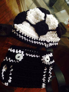 Soccer Ball Crochet Hat and Diaper Cover Set
