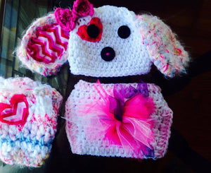 Cupid Puppy Crochet Hat, Legwarmers and Diaper Cover Set - Maddies Mad Hatters