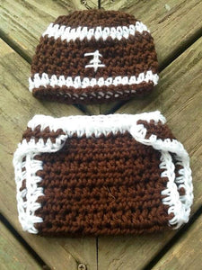 Football Crochet Hat and Diaper Cover Set - Maddies Mad Hatters