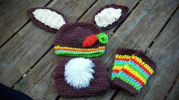 Brown Bunny Crochet Diaper and Legwarmers Set