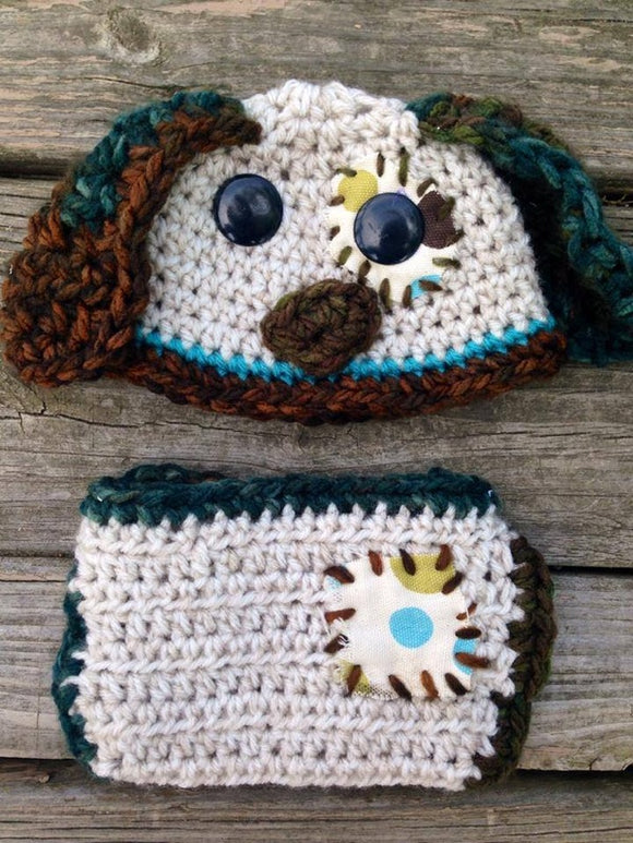 Puppy Crochet Hat and Diaper Cover Set