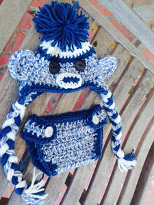 Blue tweed sock monkey diaper set