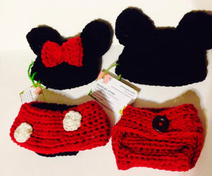 Minnie and Mickey Crochet Hat and Diaper Cover Set - Maddies Mad Hatters