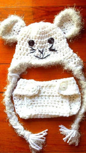 Mouse Crochet Hat and Diaper Cover Set - Maddies Mad Hatters