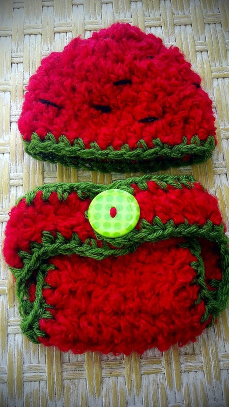 Watermelon Crochet Hat and Diaper Cover Set