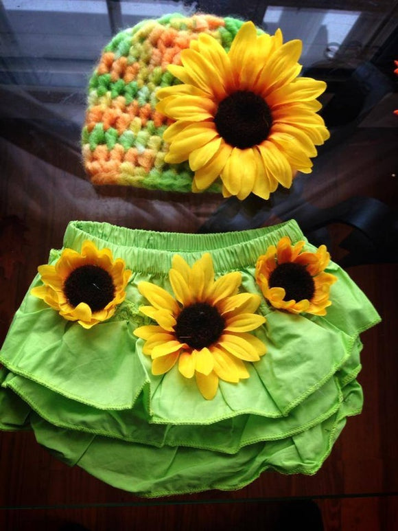 Sunflower Crochet Hat and Bloomer Ses