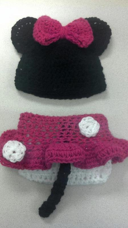 Minnie Mouse Crochet Hat and Diaper Cover Set - Maddies Mad Hatters