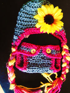 Sunflower Crochet Hat and Diaper Cover Set