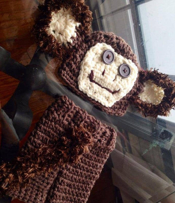 Monkey Crochet Hat and Pant Set