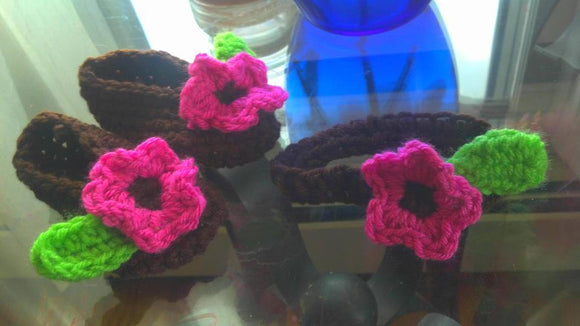 Crochet Slippers with Flowers - Maddies Mad Hatters
