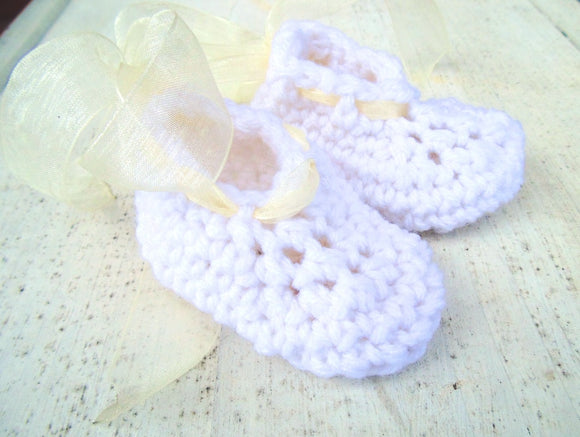White Ribbon Crochet Maryjanes
