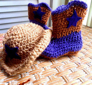 Crochet Cowboy Hat & Boots Set - Maddies Mad Hatters