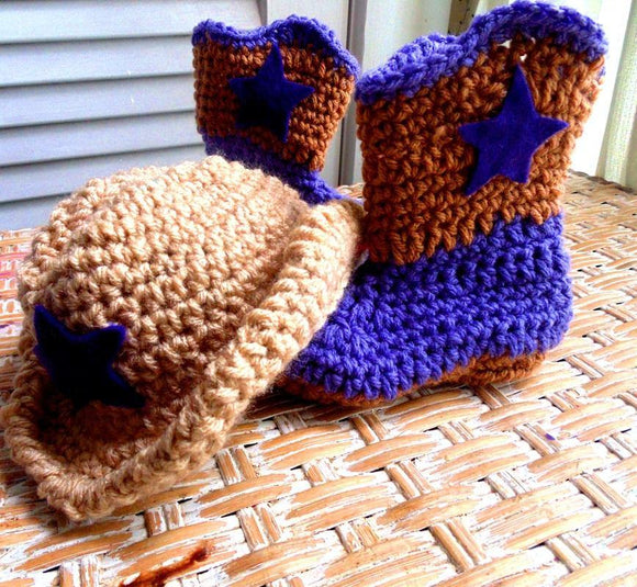 Crochet Cowboy Hat & Boots Set