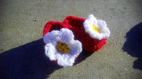 Baby Crochet Booties with Flowers - Maddies Mad Hatters