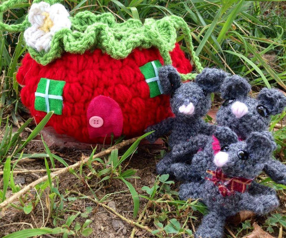 Cuddle Critters Crochet Mouse Family and Strawberry House Carry Bag