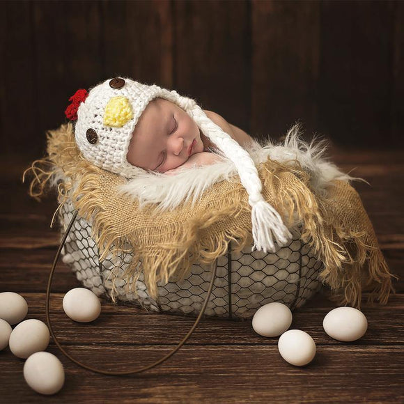 Chicken Crochet Hat with Tassels