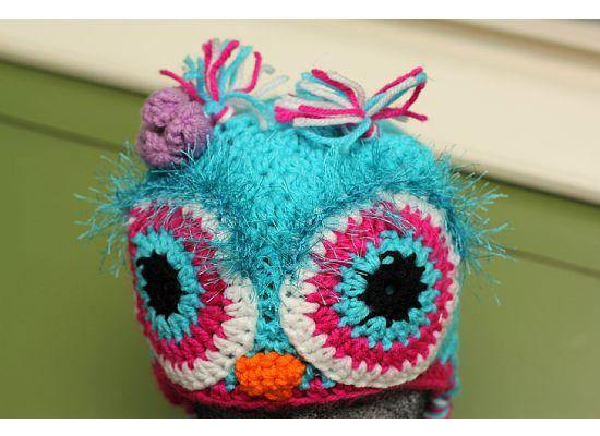 Blue with pink trim blue fuzzy eyes owl