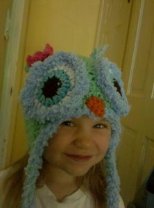 Owl Crochet Hat with Novelty Fluff Eyes and Tassels