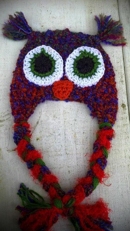 Boucle reds blues purples owl