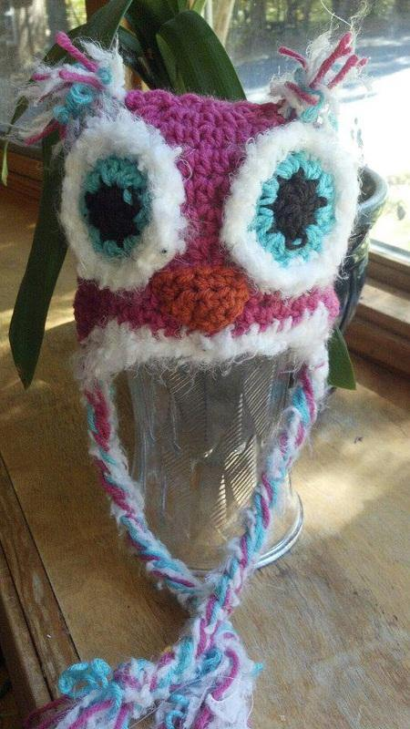 Fluffy Owl Crochet Hat