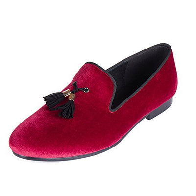 Velvet Loafers With Tassel Handmade
