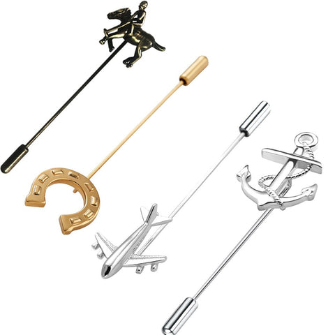 rhungift 4pcs Brooch Breastpin for mens Lapel Stick Pin Suit Tie Hat Scarf Badge
