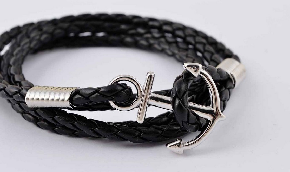 Black Braided Leather Anchor Bracelet