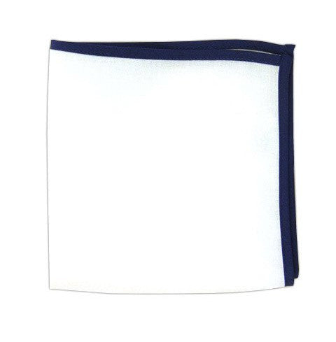 Pocket Square: White with Navy Blue
