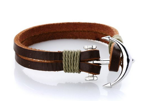 Leather Anchor Bracelet