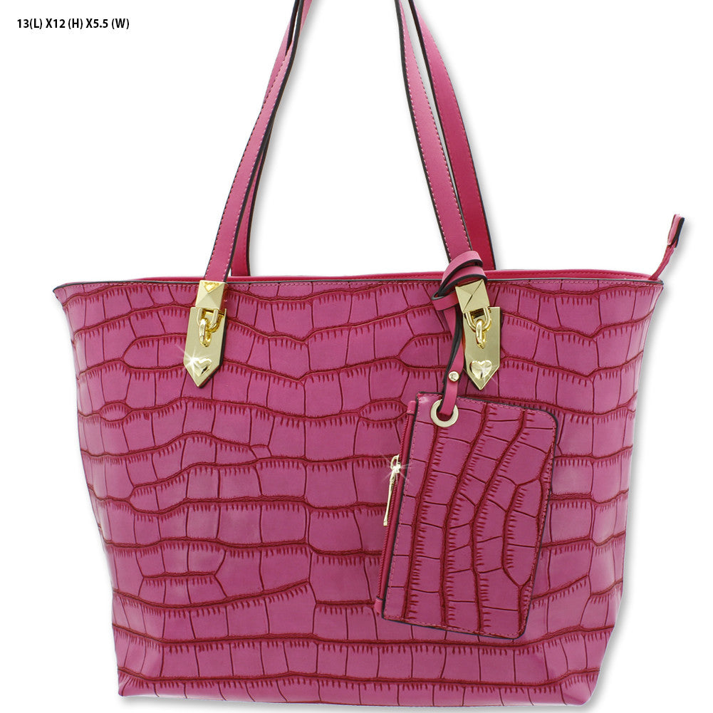 hot pink embossed tote