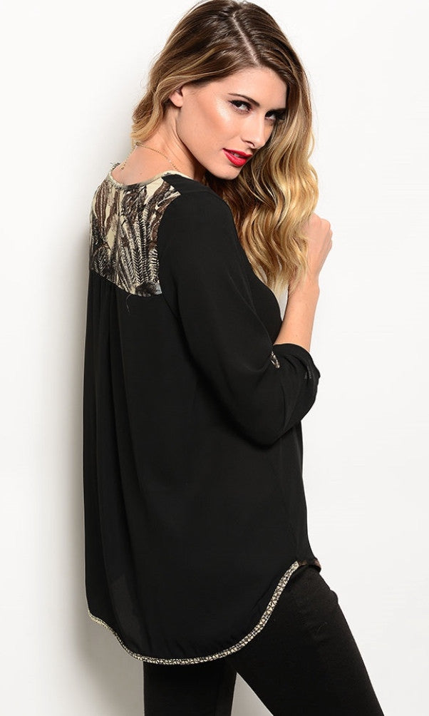 Printed Trim Black Shirt