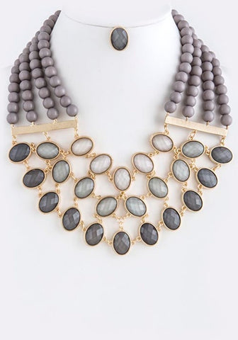 Grey Bib Necklace and Earrings